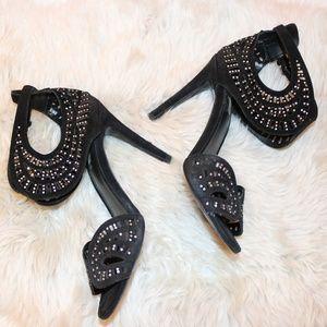 ZARA Sexy Black Suede Open Toe Heel 7.5